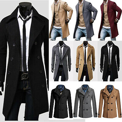 Men's Double-Breasted Lapel Coat Long Sleeve Belt Overcoat Slim Fit Outwear Tops
