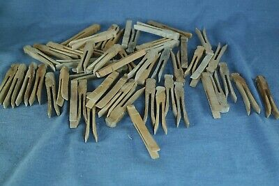 54 Rustic Antique Square Wooden Clothespins Craft Item Natural Weathered Finish
