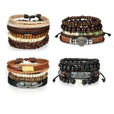 17pcs Mixed Leather Bracelets For Women Men Tribal Wooden Beaded Cuff Wristband