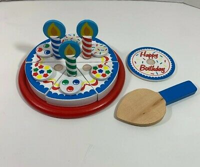 Marvelous Melissa Doug Birthday Party Pretend Play Cake Wooden Play Food Funny Birthday Cards Online Alyptdamsfinfo