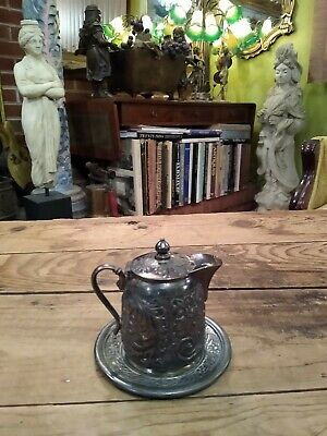 Antique Pair Point Quadruple Silver Plate Creamer With Small Plate