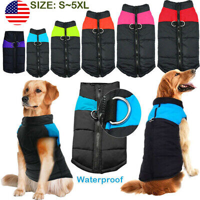 Waterproof Pet Dog Clothes Autumn Winter Warm Padded Coat Vest Jacket Large USA