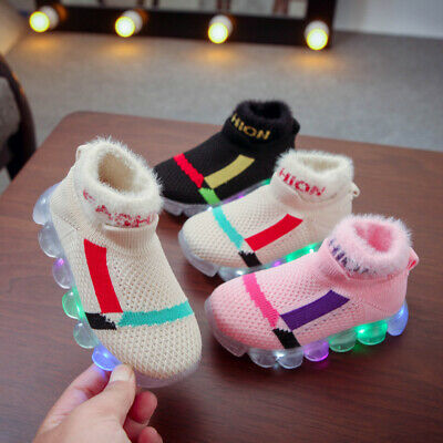 LED Children Boys Girls Light Up Sneakers Baby Luminous Shoes Trainers Kids