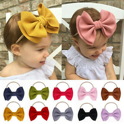 Baby Kids Toddler Girl DIY Large Bow Headband Hair Band Headwear Head Wrap Hot
