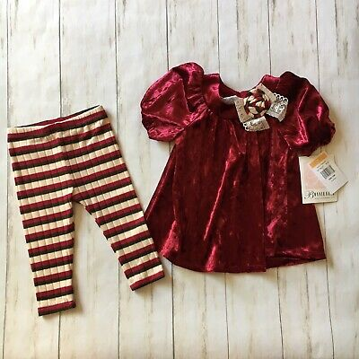 Bonnie Baby Infant Girls Size 12 Months Crushed Velvet Two Piece Outfit Set NWT