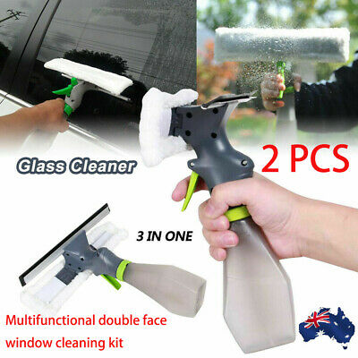 2X Glass Window Cleaning Squeegee Blade Wiper Cleaner Shower Spray Screen Washer