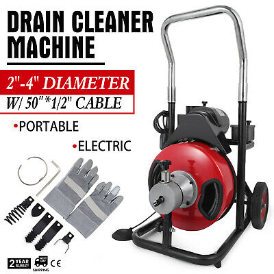 """Commercial 50ftx1/2"""" Electric Drain Auger Drain Cleaner Machine Snake w/ Cutter"""