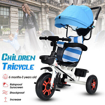 4 IN 1 Baby Walker Kid Toddler Tricycle Bike Trike Ride-On Toys 3 Wheel Stroller