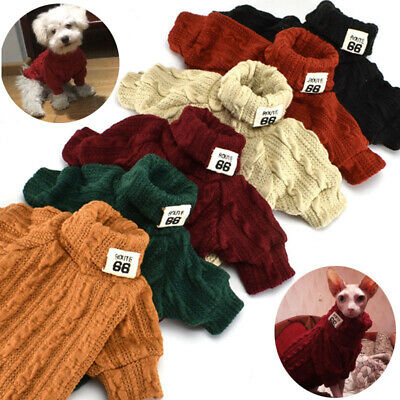 Pet Dog Cat Turtleneck Sweater Winter Warm Knitted Dog Clothes Puppy Coat Jacket