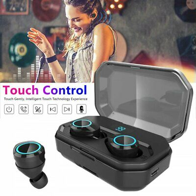 2019 Touch Control Bluetooth Headphones Wireless Earbuds Headset IPX7 Waterproof