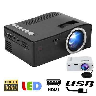 HD 1080P Mini LED Projector Home Theater Cinema Video Beamer USB TF Multimedia