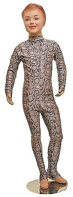 Catsuit Long Sleeves Polo Full Back Silver Snake animal Print - (ELSA) AGE 9-10