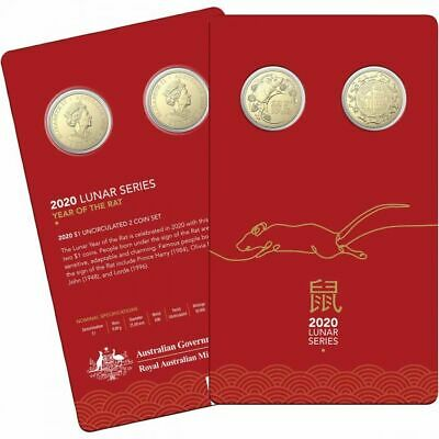 2020 Lunar Year of the Rat (or Mouse) - Two (2) x $1 Specimen Coins on Card