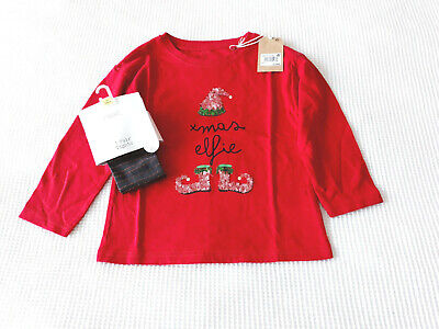 Next Girls Red Christmas Top & Sparkly Tights Age 3 Years BNWT