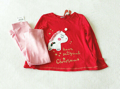 Next Girls Red Christmas Unicorn Top & Pink Leggings Age 3-4 Years BNWT