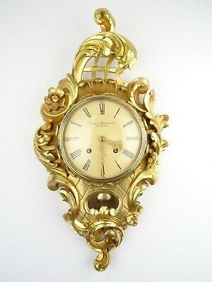 Swedish Stjarnsund Vintage Gustavian Antique Gilt Wall Clock 8 day (Mora era)