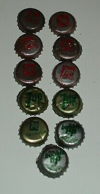 11 Vintage 7 UP Bottle caps great for crafts or collection