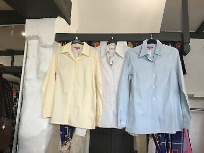 Ladies Maternity Clothes Size 8 job lot 3 shirts. lemon, white pinstripe, blue
