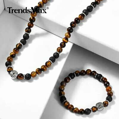 Men Natural Yellow Tiger's Eye Beads Choker Necklace Bracelet Jewelry Set Unisex