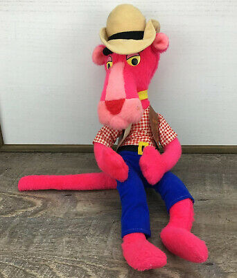 """Vintage 1980 Pink Panther Cowboy Western Vest Doll Plush Stuffed 20"""" Mighty Star"""