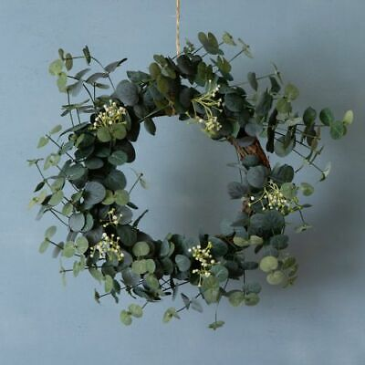 Faux Eucalyptus White Flower Xmas Door Wreath Artificial Fake Realistic Lifelike