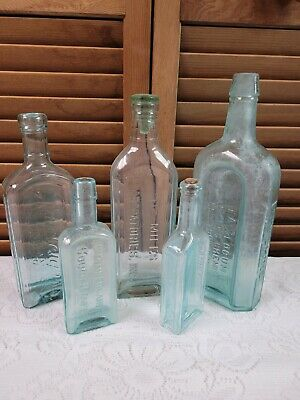 Dr Miles Laboratories w/ Glass Stopper Blue Glass Apothecary Medicine Bottle