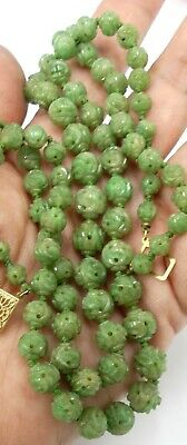 Antique Chinese carved jade beads & vintage 14k clasp double strings necklace