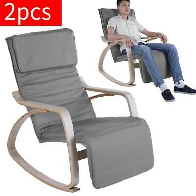 1/2X Rocking Chair Relaxing Stool Armchair Lounge Seat Footrest Birch Wood Frame