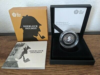 2019 Royal Mint Sherlock Holmes Piedfort 50p Fifty Pence Silver Proof Coin