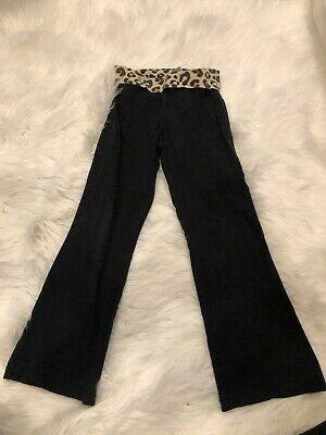 Jumping Beans Girls Youth Plus Size 6X Black Leopard Waist Boot Cut Leggings