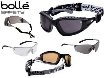 Various Bolle Safety Glasses- Smoke, Clear or Yellow lens Anti Fog Strap Tracker
