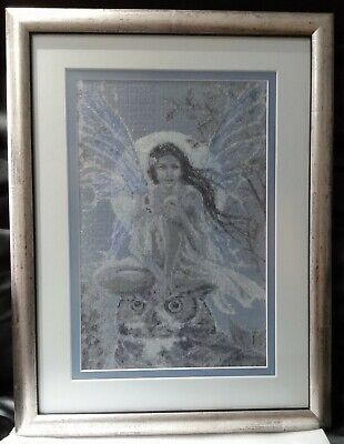 Professionally Framed Completed Cross Stitch Fantasy Fairy Owl & Moon