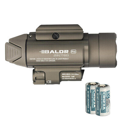 Olight Baldr Pro 1350 Lumen Pistol Flashlight with Green Laser Sight (Tan)