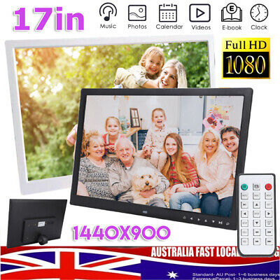 "17"" Digital Photo Frames 1080P HD LED Picture Frame Clock Mp4 Movie video Player"