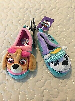 Paw Patrol Girls Toddler Slippers Dog Pink & Green Shoes Size Small 5/6