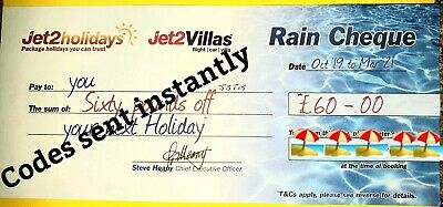 5 × Jet2Holidays £60Rain Cheque voucher  EXPIRE 29th February 2020