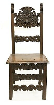 17th Century Italian Renaissance Carved Wood Side Chair