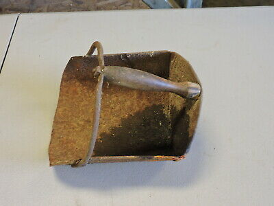Antique Metal and Wood Primitive Feed Scoop