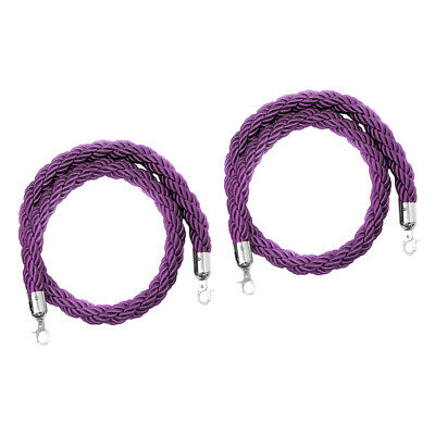 Baoblaze 2pcs Twisted Rope with Hooks for Crowd Barrier Post Purple 78.7inch