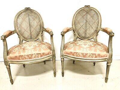 Antique Pair French Louis XVI Bedroom Armchairs Chairs