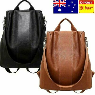 AU Women's Leather Anti-Theft Rucksack Backpack School Shoulder Bag Black/Brown~
