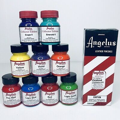 Lot Of 9 Angelus 1 Oz Acrylic Leather Paint + 1 Oxblood Red Leather Dye NEW