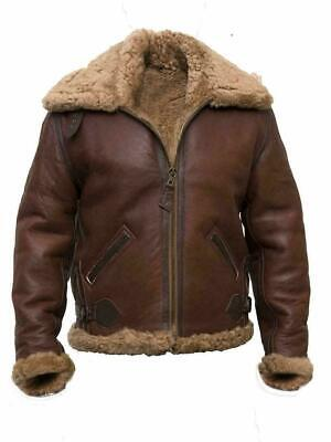 Men's Faux Shearling Fur Collared B3 Brown Flying Aviator Bomber Leather Jacket