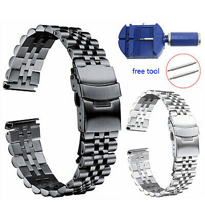 Silk Glossy Matte Stainless Steel Watch Band 18mm-26mm Double Lock Buckle Strap