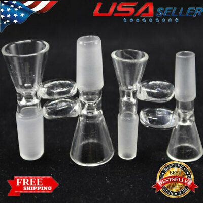 14/18mm Male Glass Slide Bowl With Round Handle Transparent Slide Funnel Type US