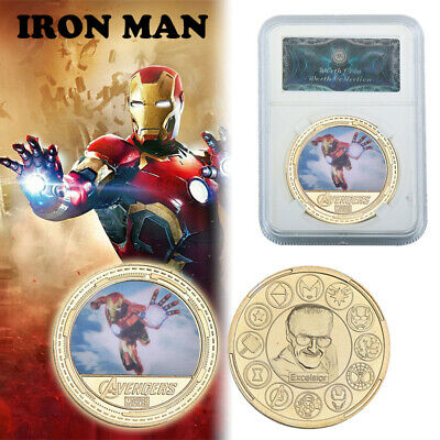 14pc Marvel/'s Comics The Avengers iron Man Gold Commemorative Coin In Gifts Box