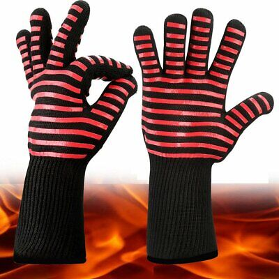 A Pair Aramid 300-500℃ Heatproof BBQ Gloves Cooking Mittens Barbecue Accessories