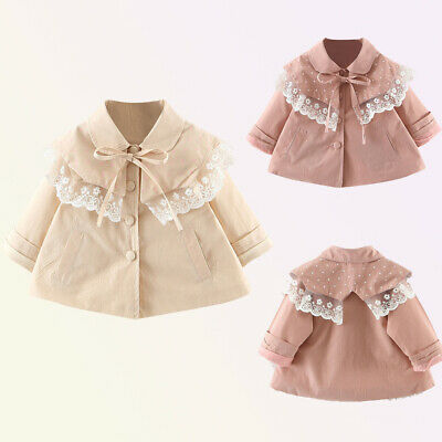 Toddler Baby Kids Girls Solid Lace Ruffles Windproof Coat Outwear Casual Clothes