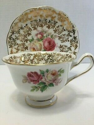 Royal Albert Bone China Teacup And Saucer Cabbage Rose and Gold
