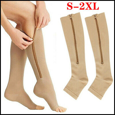 Zip Up Compression Slimming Stocking Open Toe Knee High Socks Stretch Leg Sleeve